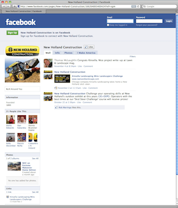 New Holland Facebook fan page screen shot