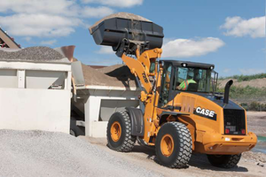 The new Case 721F wheel loader at a hopper