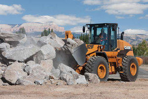 The Case 921F wheel loader from the new F Series loading rock