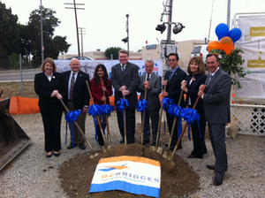 Officials gather to break ground on the O.C. Bridges Program. From left, OCTA Director and Orange Mayor Carolyn Cavecche, OCTA Director and Third District Supervisor Bill Campbell, OCTA Director and Anaheim Councilmember Lorri Galloway, Placentia City Manager Troy Butzlaff, OCTA CEO Will Kempton, Placentia Councilmember Jeremy Yamaguchi, OCTA Chair and Fifth District Supervisor Patricia Bates, Placentia Mayor Scott Nelson.
