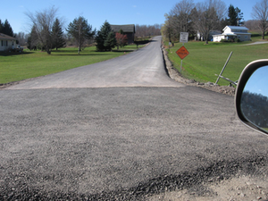 New asphalt road on recycled base