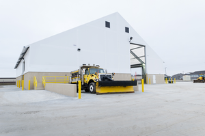 the new tension fabric structures provide each location with a salt storage capacity of 3,300 tons