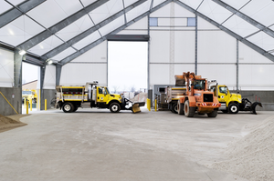 The new fabric buildings use a rigid frame engineering concept, which allows for a high level of design flexibility