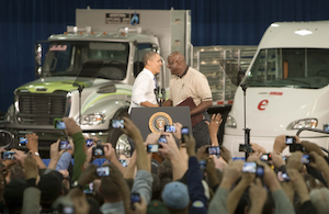 During a visit to the Daimler Trucks North America (DTNA) manufacturing facility in Mount Holly, N.C., today, President Barack Obama announced a $1 billion National Community Deployment Challenge designed to spur deployment of clean, advanced vehicles in communities around the country.