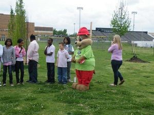 """""""We Dig Schools"""" program participants receivd a visit from Okie, the Call Okie gopher mascot, as part of the pipeline safety program"""