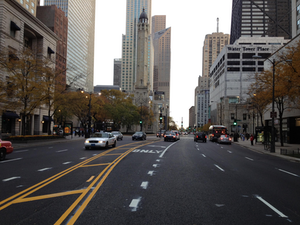 "Michigan Avenue in Chicago was repaved using recycled asphalt shingles (RAS) in the pavement mix. The project is known as ""The Green Mile"""