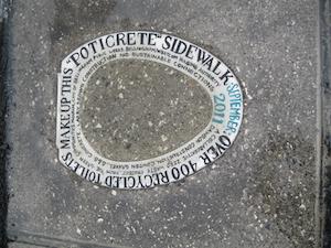 A Poticrete sidewalk