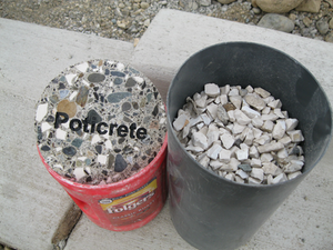 Poticrete shown side by side with the recycled toilet pieces used in mix
