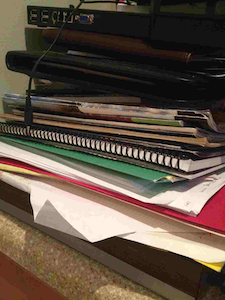 Stack of papers on my desk