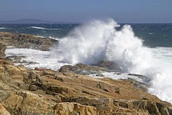 Powerful waves hit the coastline at Acadia National Park in Maine