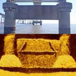 Mosaic created from two elevation images taken from sonar deployed on pier mounted bracket system