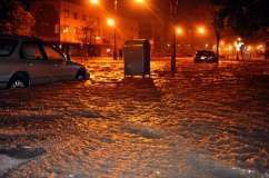Flooded streets, caused by Hurricane Sandy, are seen on Oct. 29, 2012, in the corner of Brigham street and Emmons Avenue of Brooklyn, N.Y.