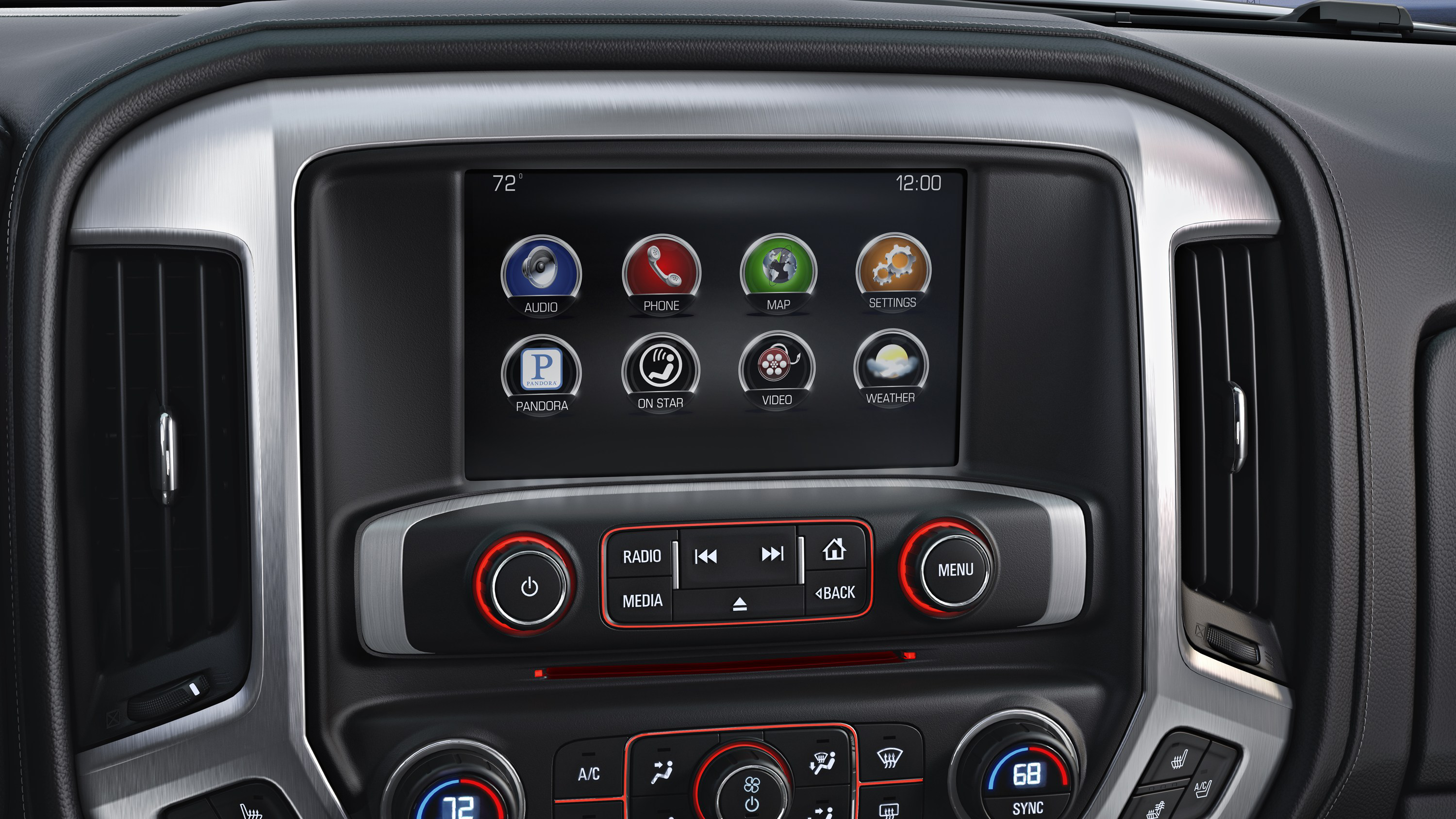 Delightful The All New Interior On The 2014 GMC Sierra SLT Features A 8u2033 Color Touch  Screen Radio With Intellilink. The GMC Sierra Also Features Real Chrome  Trim ...