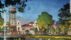 Rendering of Disney Springs, a planned entertainment district at Disney World that will create 1,200 construction jobs.