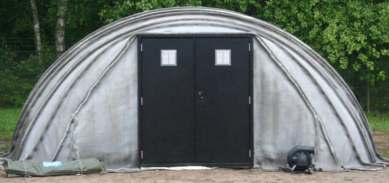 Concrete canvas tent