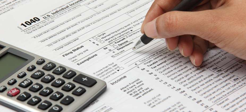 Person completing tax form