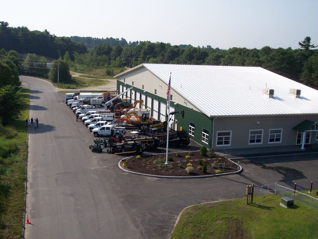 Aerial view of the ETTI offices and machine shop in Lisbon Falls, Maine. The building is 24000 square feet and was built in 2008.