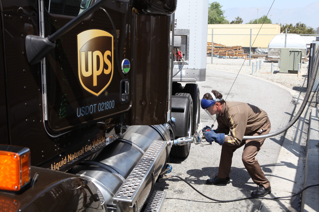 UPS LNG truck being fueled