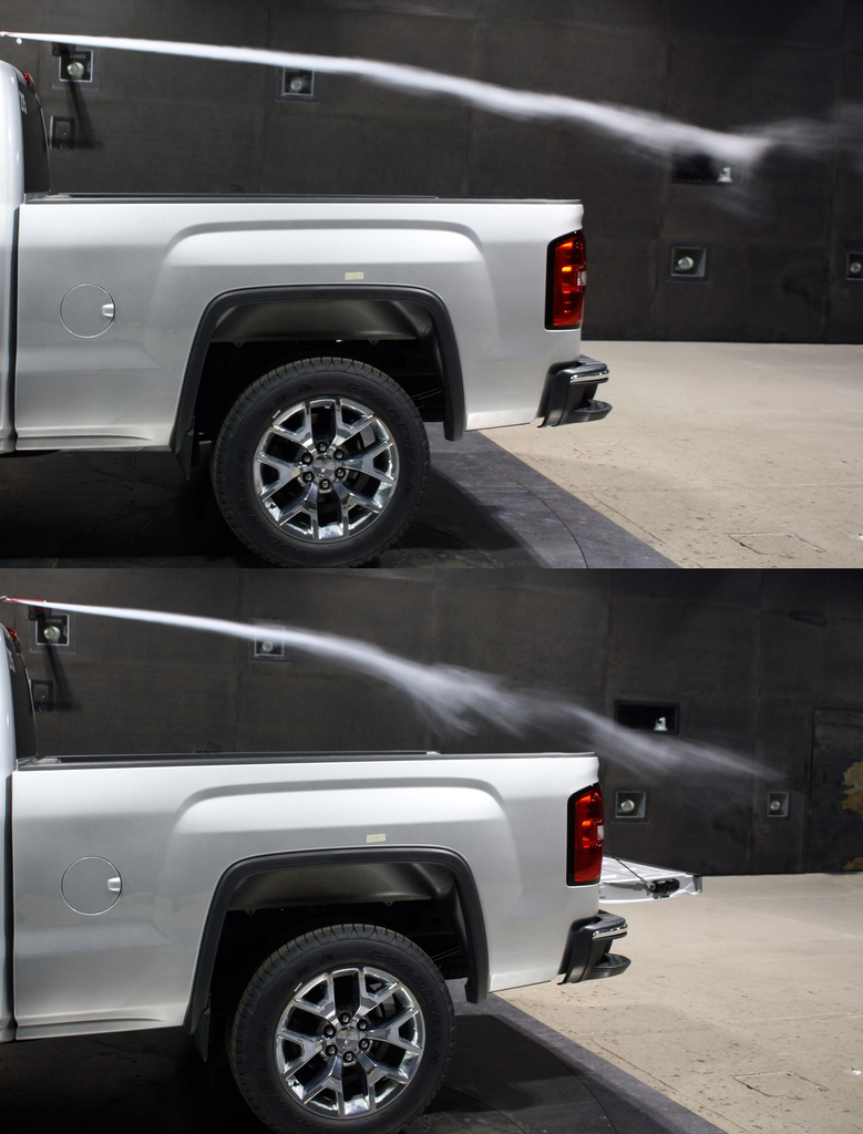 This side-by-side photo shows air being disrupted negatively with the truck's tailgate down.