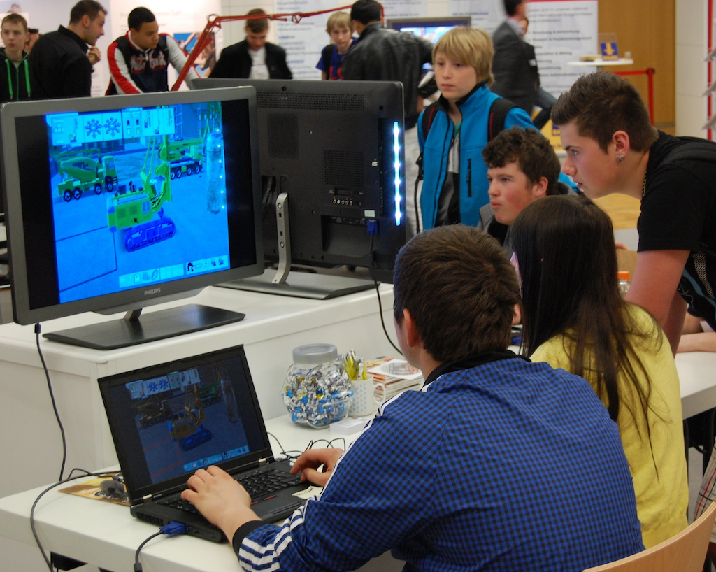Computer games impressed upon the teens the high-tech nature of the equipment business.