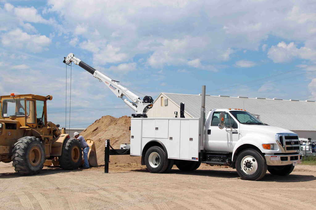 Any telescoping service truck crane with lifting capacity within 2,000 to 14,000 pounds falls within the rules of the OSHA 1926 Subpart CC.