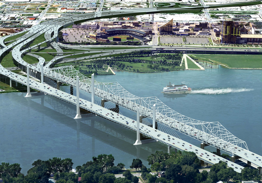 An illustration shows the Downtown Crossing next to Kennedy Bridge with Slugger Field and Louisville's Riverfront Park in the background. (Photo: Ohio River Bridges Project)