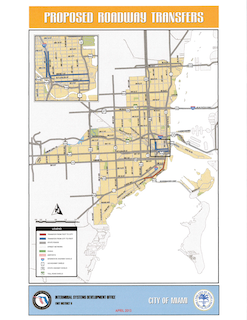 FDOT wants jurisdiction over several streets (highlighted in blue) in Miami's Downtown Historic District. In exchange, the City of Miami would gain control over Brickrell Drive (highlighted in red). (Photo: FDOT via Transit Miami)