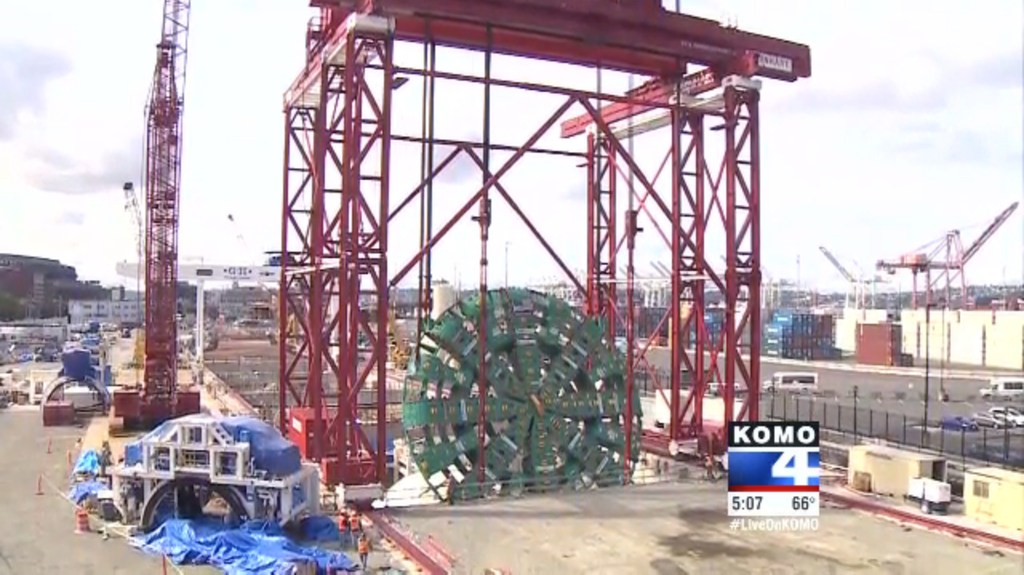 Big Bertha lowered into pit