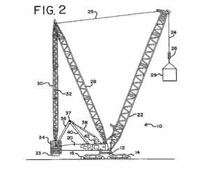 An illustration from Manitowoc patent no.  7,546,928 which covers the company's Variable Position Counterweight technology. Manitowoc alleges in a lawsuit and patent complaint that Sany infringes this patent and one other in its SCC8500 crawler crane.