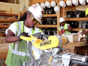 A trainee in the Women Wear Hard Hats Too construction training program in Minneapolis, Minnesota