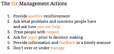 The 6 Management Actions Wes Lee
