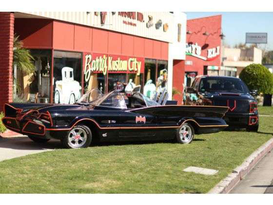 The original Batmobile seen alongside the Crimefighter F-150 tribute.