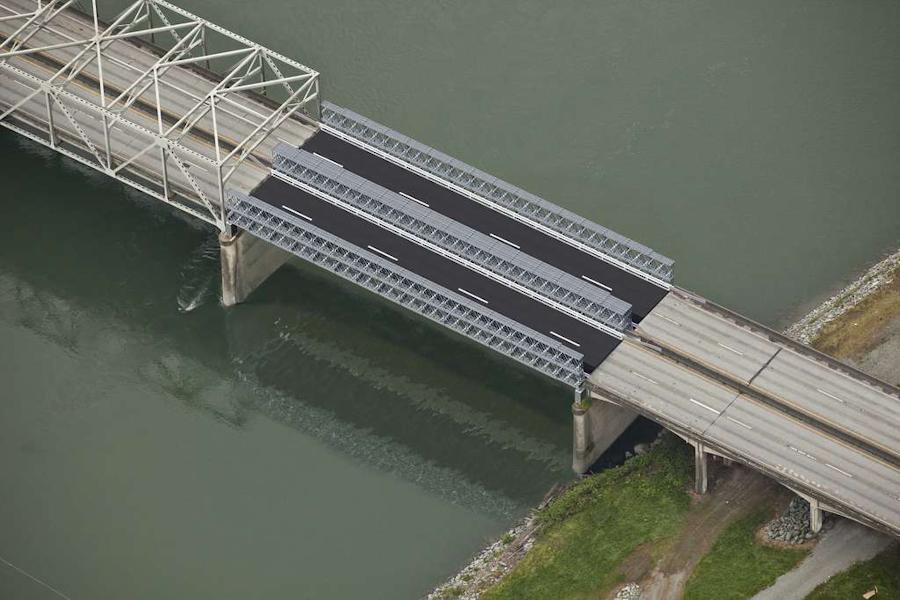 Visualization of the I-5 Skagit River Bridge temporary span (Photo: WSDOT)