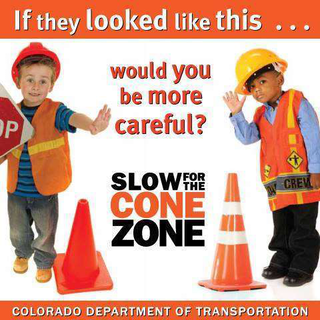 "CDOT's ""Slow for the Cone Zone"" ads feature children dressed as construction workers and urge drivers to be careful in road work zones."