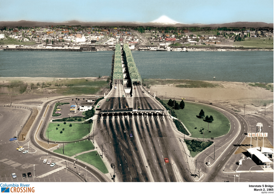 A snapshot of the I-5 Columbia River Crossing toll booths, taken in March 1965, shows the surrounding community, including pre-eruption Mount St. Helen. (Photo: WSDOT)