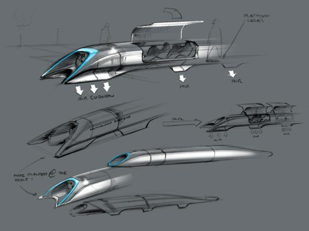 An artist's conceptual design sketch of a hyperloop passenger-only capsule. (Photo: Tesla)