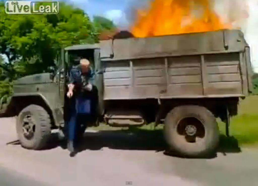 Russian dump truck fire