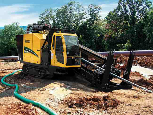 Vermeer's D100x140 Navigator, designed for water, sewer and gas pipeline work, has maximum rotation speeds up to 200 rpm.