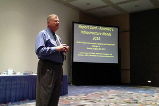 "Trekk Design Group Senior Consultant Larry Frevert speaks at an APWA Congress and Exposition session entitled ""Report Cart -- America'sInfrstructure Needs 2013."""