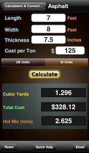 Screenshot of Asphalt Calculator+ for iPhone, iPad and iPod Touch