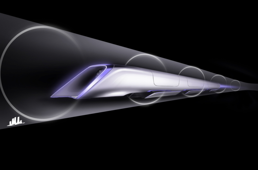 An artist renders the concept of a hyperloop capsule. (Photo: Tesla)