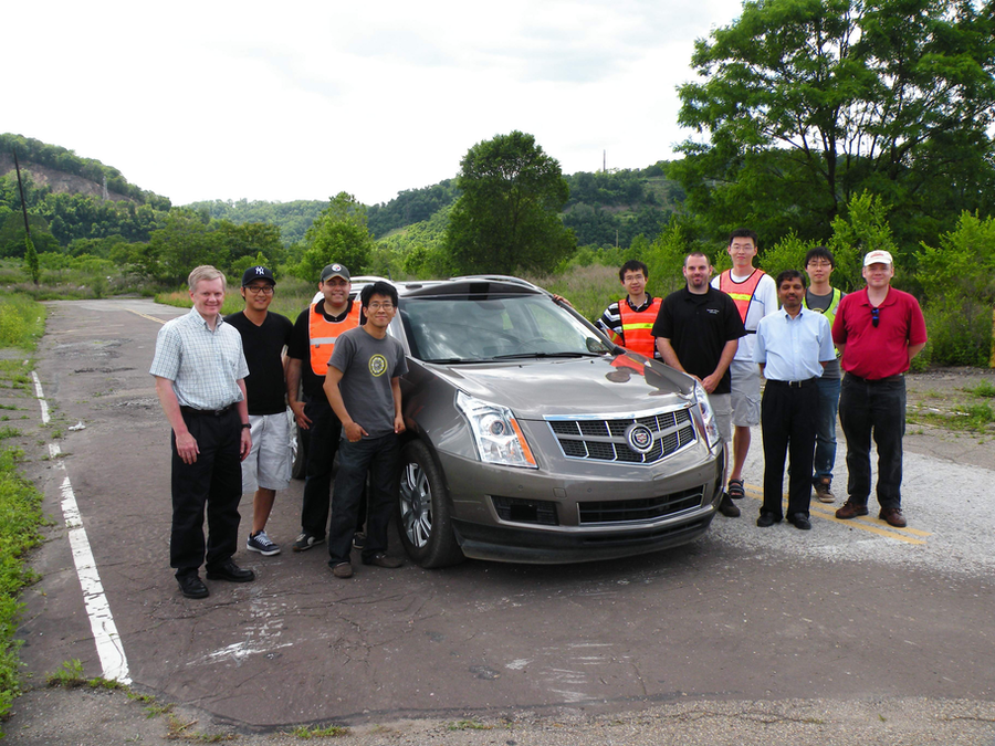A Cadillac SRX drove itself from Cranberry, Pennsylvania, to the Pittsburgh International Airport on September 4, 2013. This autonomous vehicle is the first of its kind. (Photo: Carnegie Melon University)