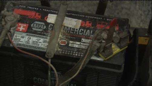 A construction equipment battery (pictured) exploded in Columbus, Ohio, Tuesday night, shutting down police headquarters for several hours. (Photo courtesy WBNS)
