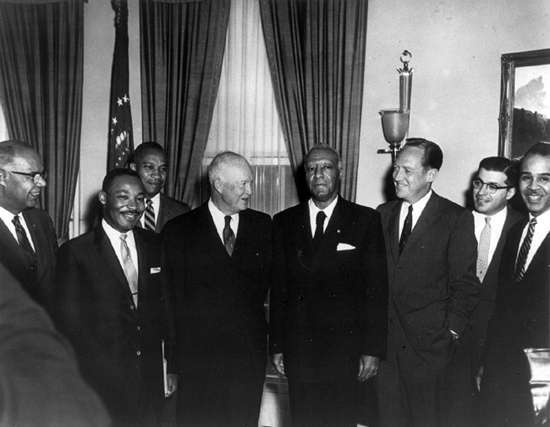 Eishenhower, center, with Martin Luther King Jr., left, and A. Phillip Randolph, right.