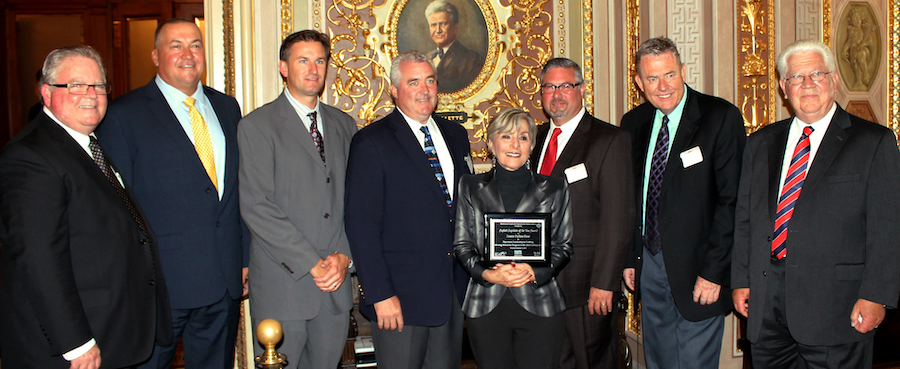 The National Asphalt Pavement Association presented Sen. Barbara Boxer with the Asphalt Legislator of the Year Award today for her work with MAP-21. Attending the presentation were (from left) Russell Snyder, Executive Director of the California Asphalt Pavement Association; Frank Coakley, Vice President, and Don Daley III, CEO of DIII Transport; National Asphalt Pavement Association Chairman John Keating, President and COO East Oldcastle Materials Group; Senator Barbara Boxer; Brian Handshoe, Vice President of Operations for Kenco Engineering; Mike Acott, National Asphalt Pavement Association President; and Len Nawrocki, Director of Marketing, Southwest, Valero Marketing & Supply.