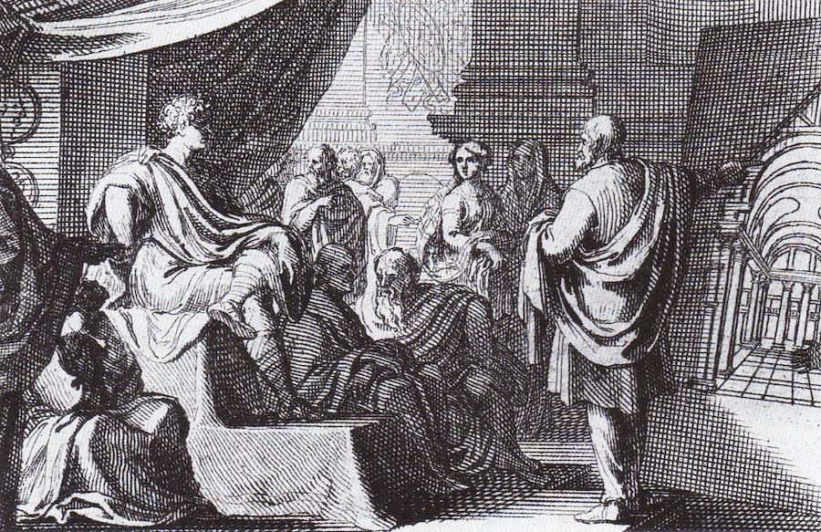 In this artist's depiction, Vitruvius presents De Architectura to Augustus. (Photo: Sebastian Le Clerc / Wikimedia Commons)