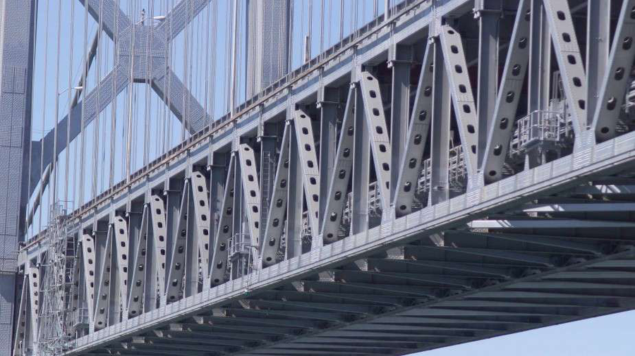 "New steel on the Bay Bridge replaced original riveted ""laced members."" (Photo: Caltrans)"