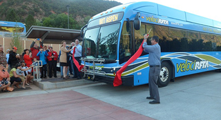 Federal Transit Administration officials gathered with the Roaring Forks Valley community to celebrate the opening of the first rural BRT line in the nation. (Photo: FTA)