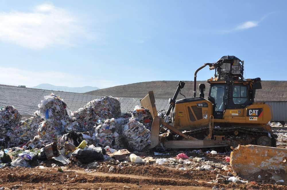 A Cat D7E hybrid bulldozer in testing at the Waste Management El Sobrante Landfill in Corona, California.