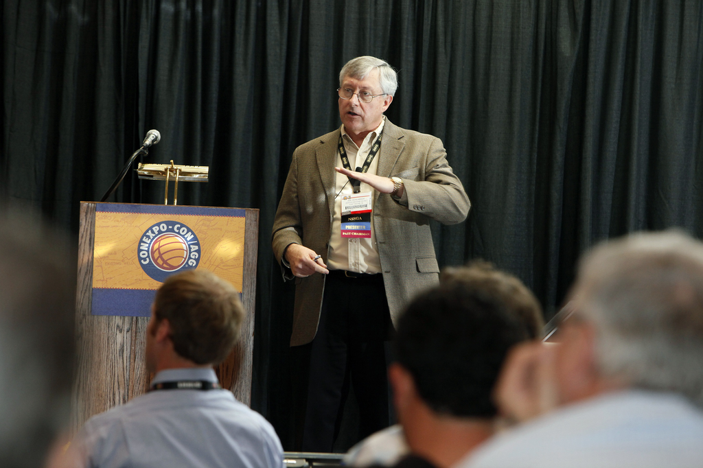 Joe Schlabach of Deister Machine Co. in Fort Wayne, Indiana, gives hosts an educational session at ConExpo-ConAgg 2011.